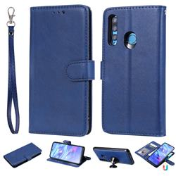 Retro Greek Detachable Magnetic PU Leather Wallet Phone Case for Huawei Honor 10i - Blue