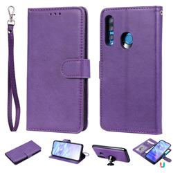 Retro Greek Detachable Magnetic PU Leather Wallet Phone Case for Huawei Honor 10i - Purple