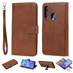 Retro Greek Detachable Magnetic PU Leather Wallet Phone Case for Huawei Honor 10i - Brown
