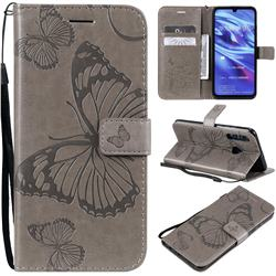 Embossing 3D Butterfly Leather Wallet Case for Huawei Honor 10i - Gray