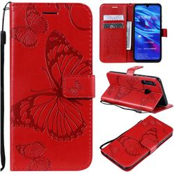 Embossing 3D Butterfly Leather Wallet Case for Huawei Honor 10i - Red