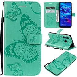 Embossing 3D Butterfly Leather Wallet Case for Huawei Honor 10i - Green