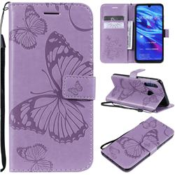 Embossing 3D Butterfly Leather Wallet Case for Huawei Honor 10i - Purple