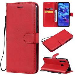 Retro Greek Classic Smooth PU Leather Wallet Phone Case for Huawei Honor 10i - Red