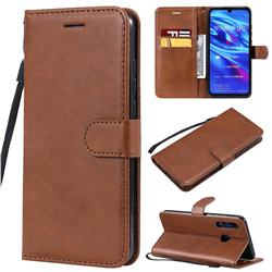 Retro Greek Classic Smooth PU Leather Wallet Phone Case for Huawei Honor 10i - Brown