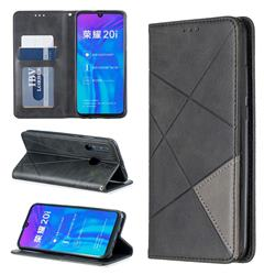Prismatic Slim Magnetic Sucking Stitching Wallet Flip Cover for Huawei Honor 10i - Black