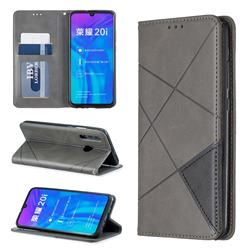 Prismatic Slim Magnetic Sucking Stitching Wallet Flip Cover for Huawei Honor 10i - Gray