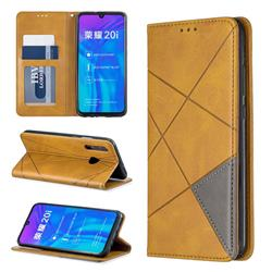 Prismatic Slim Magnetic Sucking Stitching Wallet Flip Cover for Huawei Honor 10i - Yellow