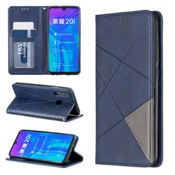 Prismatic Slim Magnetic Sucking Stitching Wallet Flip Cover for Huawei Honor 10i - Blue