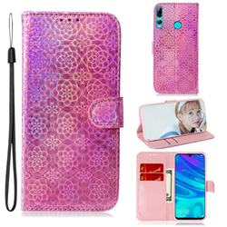 Laser Circle Shining Leather Wallet Phone Case for Huawei Honor 10i - Pink