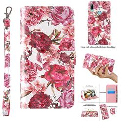 Red Flower 3D Painted Leather Wallet Case for Huawei Honor 10i