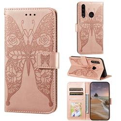 Intricate Embossing Rose Flower Butterfly Leather Wallet Case for Huawei Honor 10i - Rose Gold