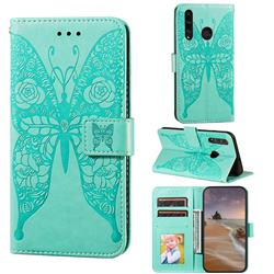 Intricate Embossing Rose Flower Butterfly Leather Wallet Case for Huawei Honor 10i - Green