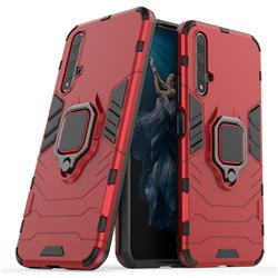 Black Panther Armor Metal Ring Grip Shockproof Dual Layer Rugged Hard Cover for Huawei Honor 20 - Red