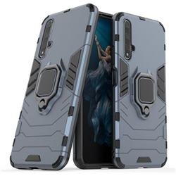 Black Panther Armor Metal Ring Grip Shockproof Dual Layer Rugged Hard Cover for Huawei Honor 20 - Blue
