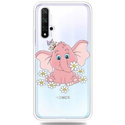 Tiny Pink Elephant Clear Varnish Soft Phone Back Cover for Huawei Honor 20