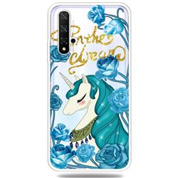 Blue Flower Unicorn Clear Varnish Soft Phone Back Cover for Huawei Honor 20