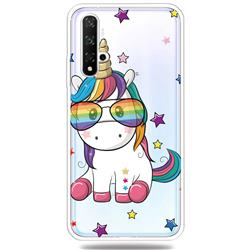 Glasses Unicorn Clear Varnish Soft Phone Back Cover for Huawei Honor 20