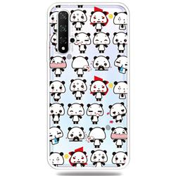 Mini Panda Clear Varnish Soft Phone Back Cover for Huawei Honor 20