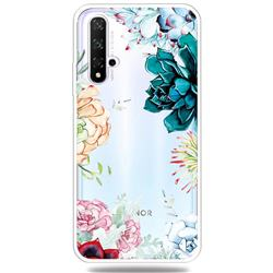 Gem Flower Clear Varnish Soft Phone Back Cover for Huawei Honor 20