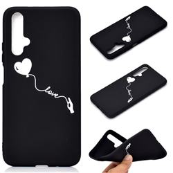 Heart Balloon Chalk Drawing Matte Black TPU Phone Cover for Huawei Honor 20