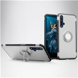 Armor Anti Drop Carbon PC + Silicon Invisible Ring Holder Phone Case for Huawei Honor 20 - Silver