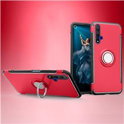 Armor Anti Drop Carbon PC + Silicon Invisible Ring Holder Phone Case for Huawei Honor 20 - Red
