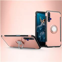 Armor Anti Drop Carbon PC + Silicon Invisible Ring Holder Phone Case for Huawei Honor 20 - Rose Gold