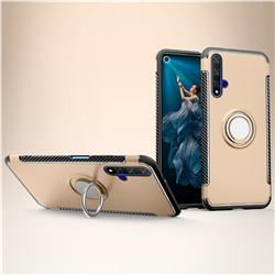 Armor Anti Drop Carbon PC + Silicon Invisible Ring Holder Phone Case for Huawei Honor 20 - Champagne