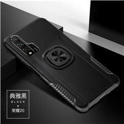 Knight Armor Anti Drop PC + Silicone Invisible Ring Holder Phone Cover for Huawei Honor 20 - Black