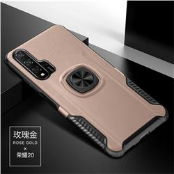 Knight Armor Anti Drop PC + Silicone Invisible Ring Holder Phone Cover for Huawei Honor 20 - Rose Gold