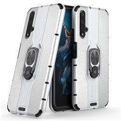 Alita Battle Angel Armor Metal Ring Grip Shockproof Dual Layer Rugged Hard Cover for Huawei Honor 20 - Silver