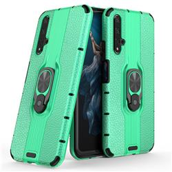Alita Battle Angel Armor Metal Ring Grip Shockproof Dual Layer Rugged Hard Cover for Huawei Honor 20 - Green