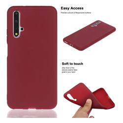 Soft Matte Silicone Phone Cover for Huawei Honor 20 - Wine Red