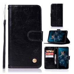 Luxury Retro Leather Wallet Case for Huawei Honor 20 - Black