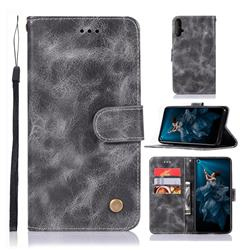 Luxury Retro Leather Wallet Case for Huawei Honor 20 - Gray