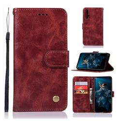 Luxury Retro Leather Wallet Case for Huawei Honor 20 - Wine Red
