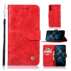 Luxury Retro Leather Wallet Case for Huawei Honor 20 - Red