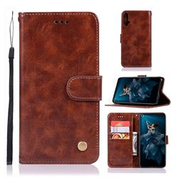 Luxury Retro Leather Wallet Case for Huawei Honor 20 - Brown