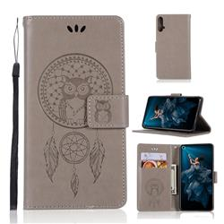 Intricate Embossing Owl Campanula Leather Wallet Case for Huawei Honor 20 - Grey