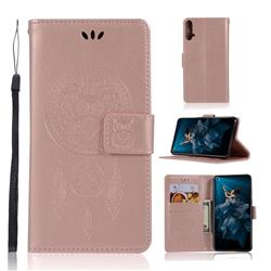 Intricate Embossing Owl Campanula Leather Wallet Case for Huawei Honor 20 - Rose Gold