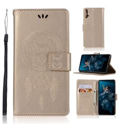 Intricate Embossing Owl Campanula Leather Wallet Case for Huawei Honor 20 - Champagne