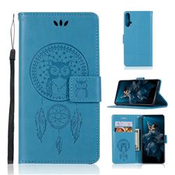 Intricate Embossing Owl Campanula Leather Wallet Case for Huawei Honor 20 - Blue