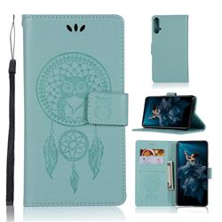 Intricate Embossing Owl Campanula Leather Wallet Case for Huawei Honor 20 - Green