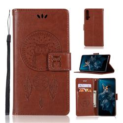 Intricate Embossing Owl Campanula Leather Wallet Case for Huawei Honor 20 - Brown
