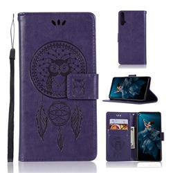 Intricate Embossing Owl Campanula Leather Wallet Case for Huawei Honor 20 - Purple