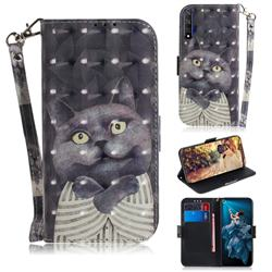Cat Embrace 3D Painted Leather Wallet Phone Case for Huawei Honor 20