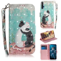 Black and White Cat 3D Painted Leather Wallet Phone Case for Huawei Honor 20