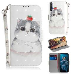 Cute Tomato Cat 3D Painted Leather Wallet Phone Case for Huawei Honor 20