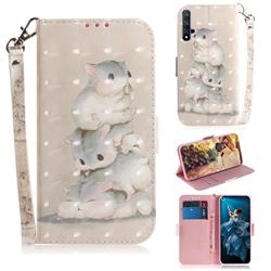 Three Squirrels 3D Painted Leather Wallet Phone Case for Huawei Honor 20